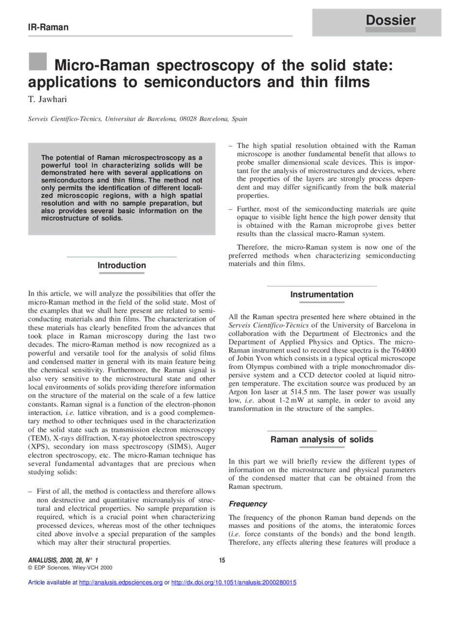 Micro raman spectroscopy of the solid state applications to first page of the article publicscrutiny Choice Image