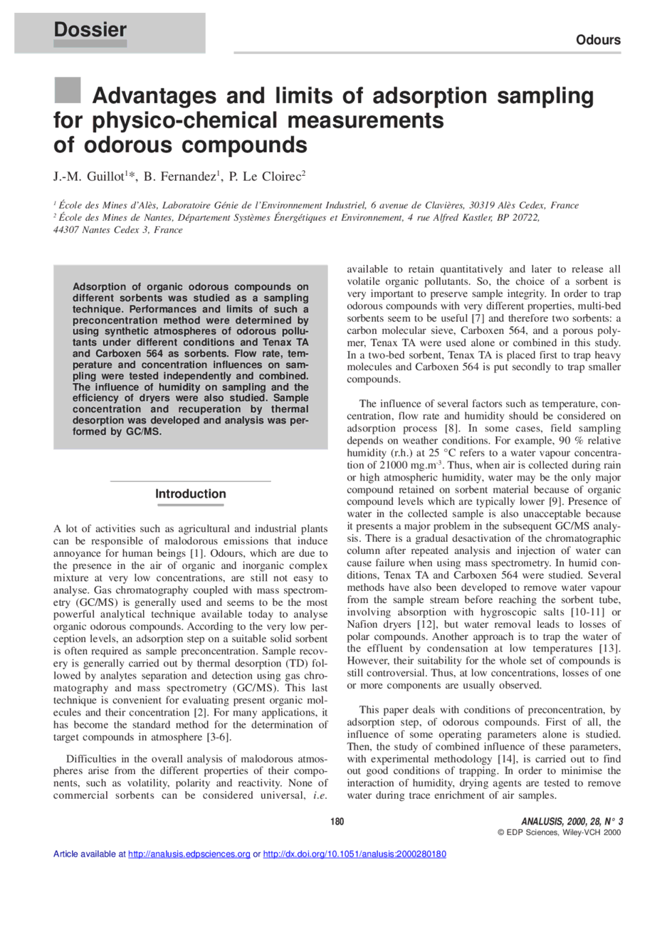 Advantages and limits of adsorption sampling for physico chemical first page of the article publicscrutiny Choice Image