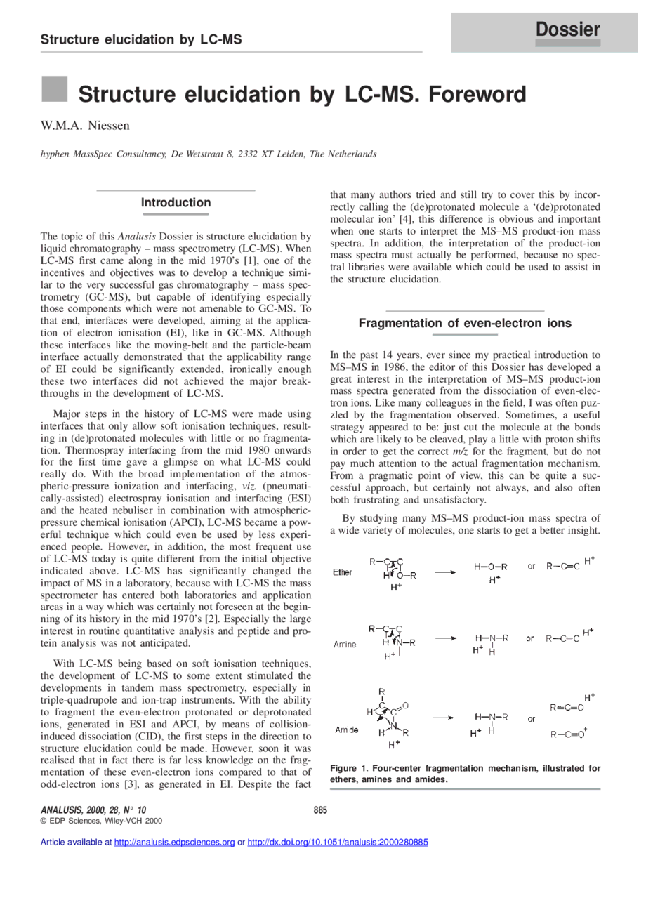 Structure elucidation by lc ms foreword analusis first page of the article publicscrutiny Image collections